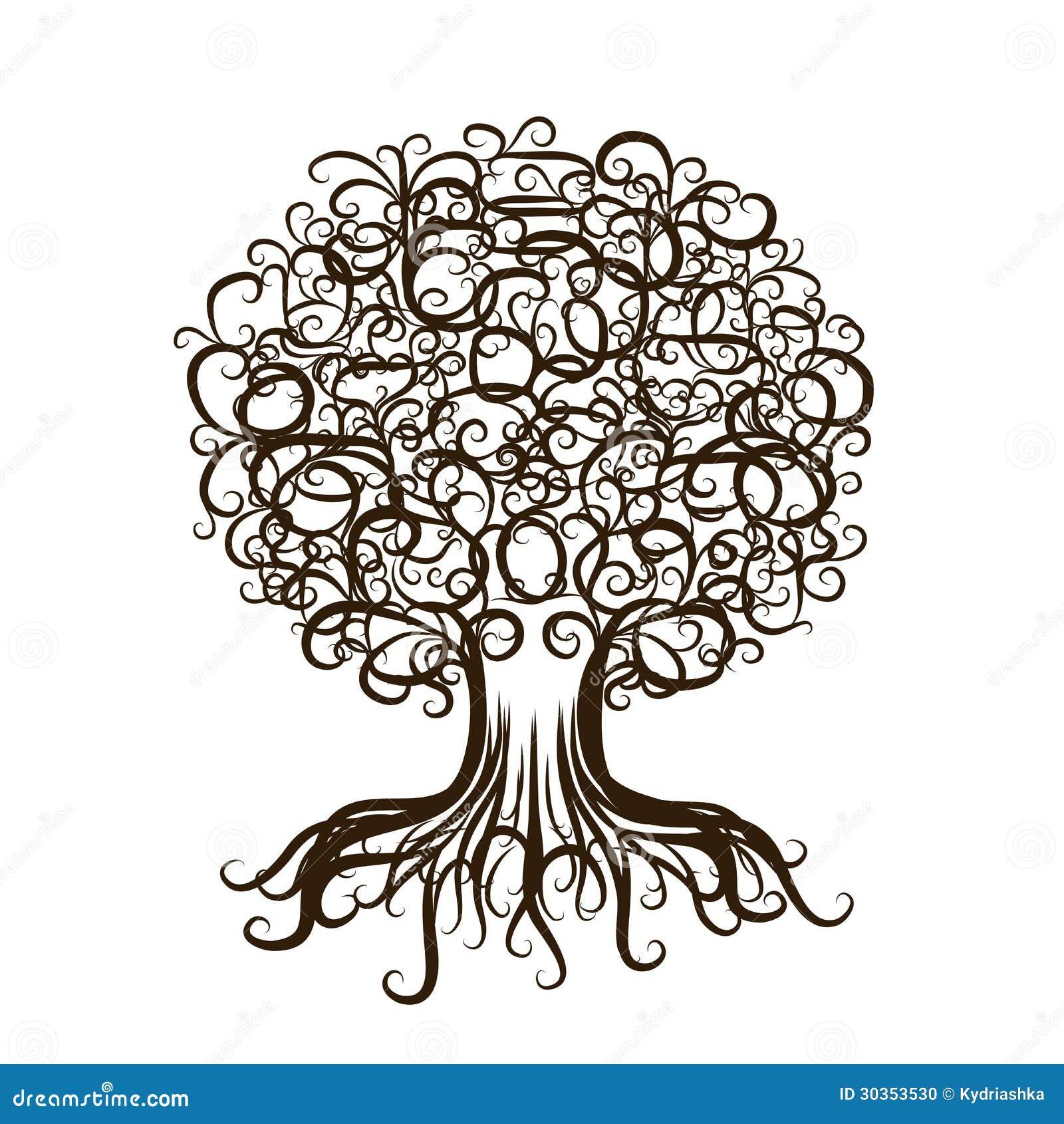 Sier boom met wortels voor uw ontwerp stock foto afbeelding 30353530 - Boom ontwerp ...