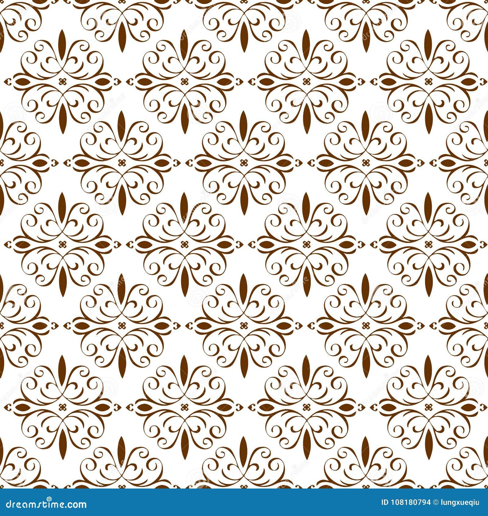 Sier Oosters Bruin Bloemen Mooi Koninklijk Uitstekend de Textuurbehang van het de Lente Abstract Naadloos Patroon