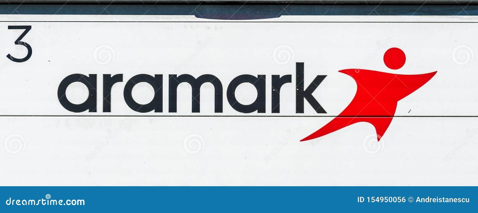 Sierpień 1, 2019 Sunnyvale, CA, usa/- Aramark znak wystawiający na jeden pojazdy robi dostawie; Aramark Korporacja jest