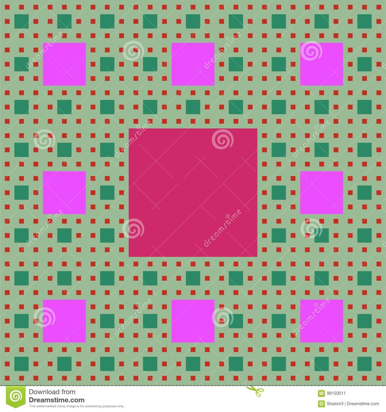 Sierpinski carpet patterns in fractal style, multicolored background in green, purple and red colors.