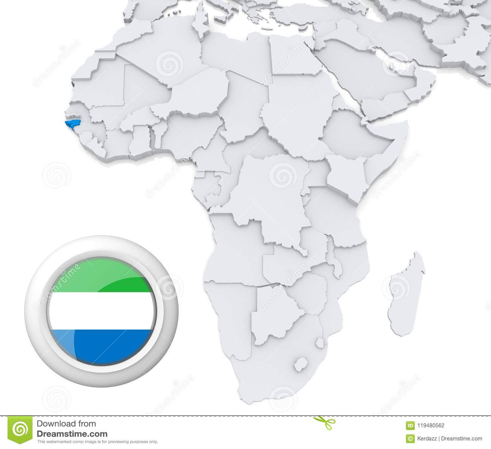 Sierra Leone on Africa map stock illustration. Illustration of