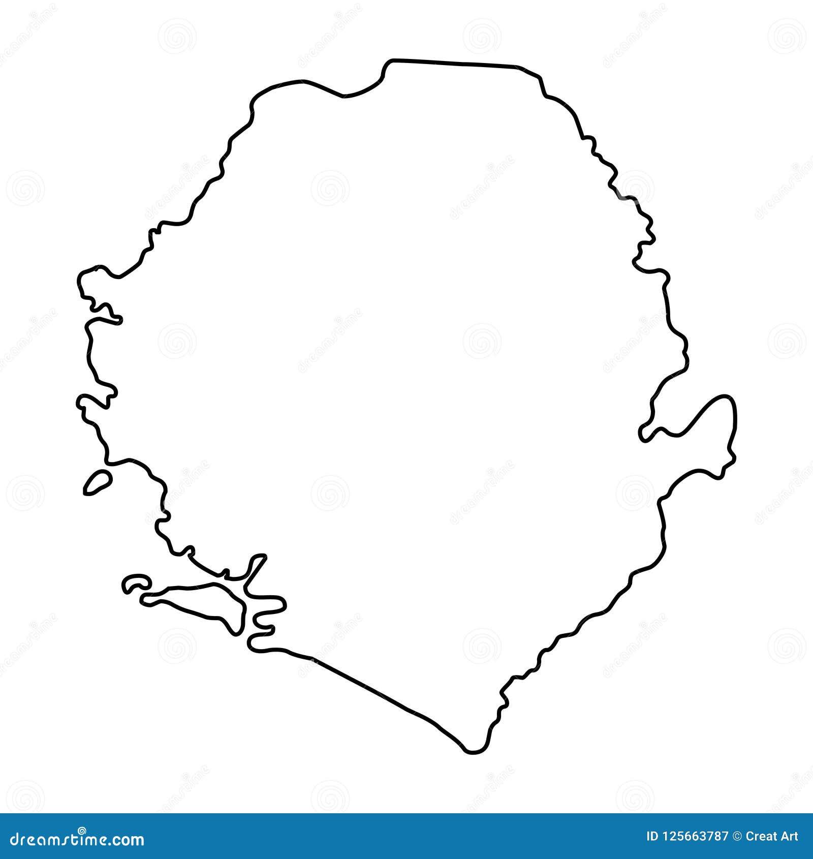 Sierra Leone Map Outline Vector Illustration Stock Vector ...