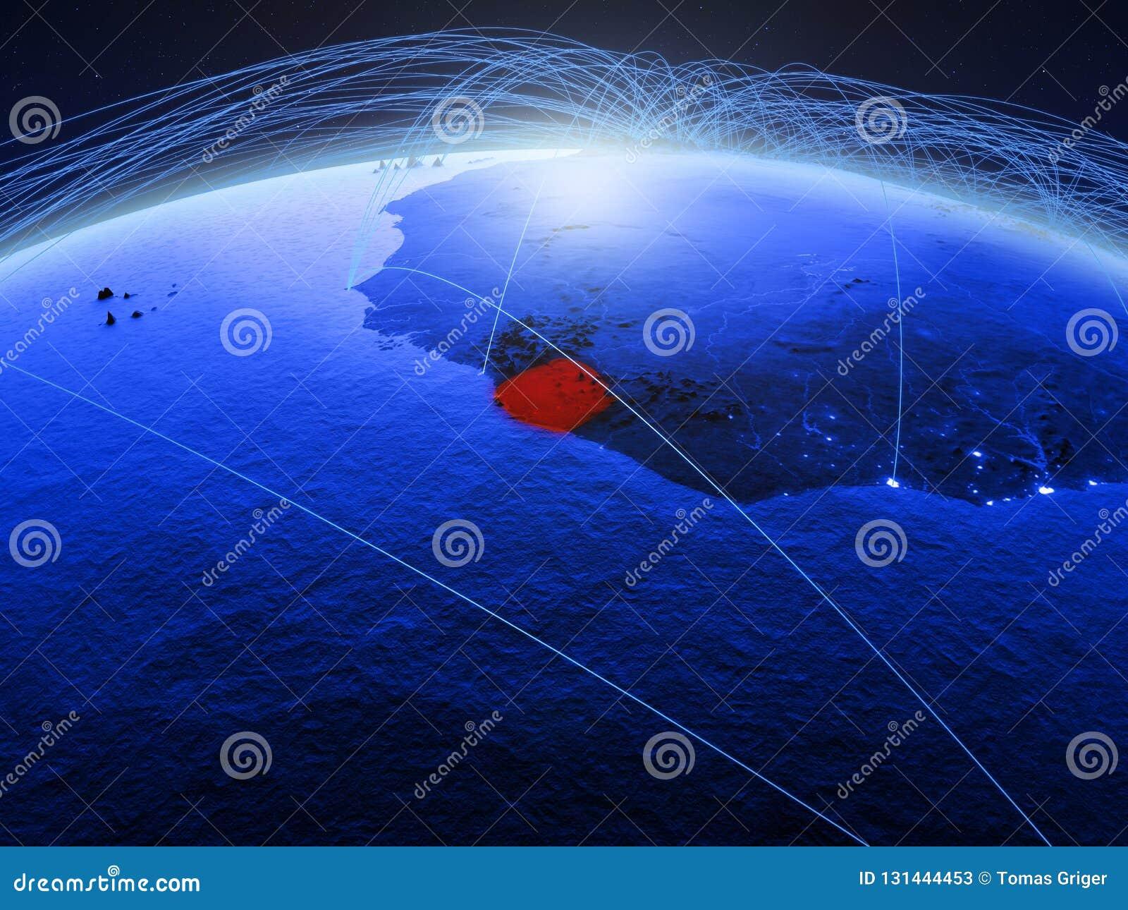 Sierra Leone op blauwe digitale aarde met internationaal netwerk die mededeling, reis en verbindingen vertegenwoordigen 3d