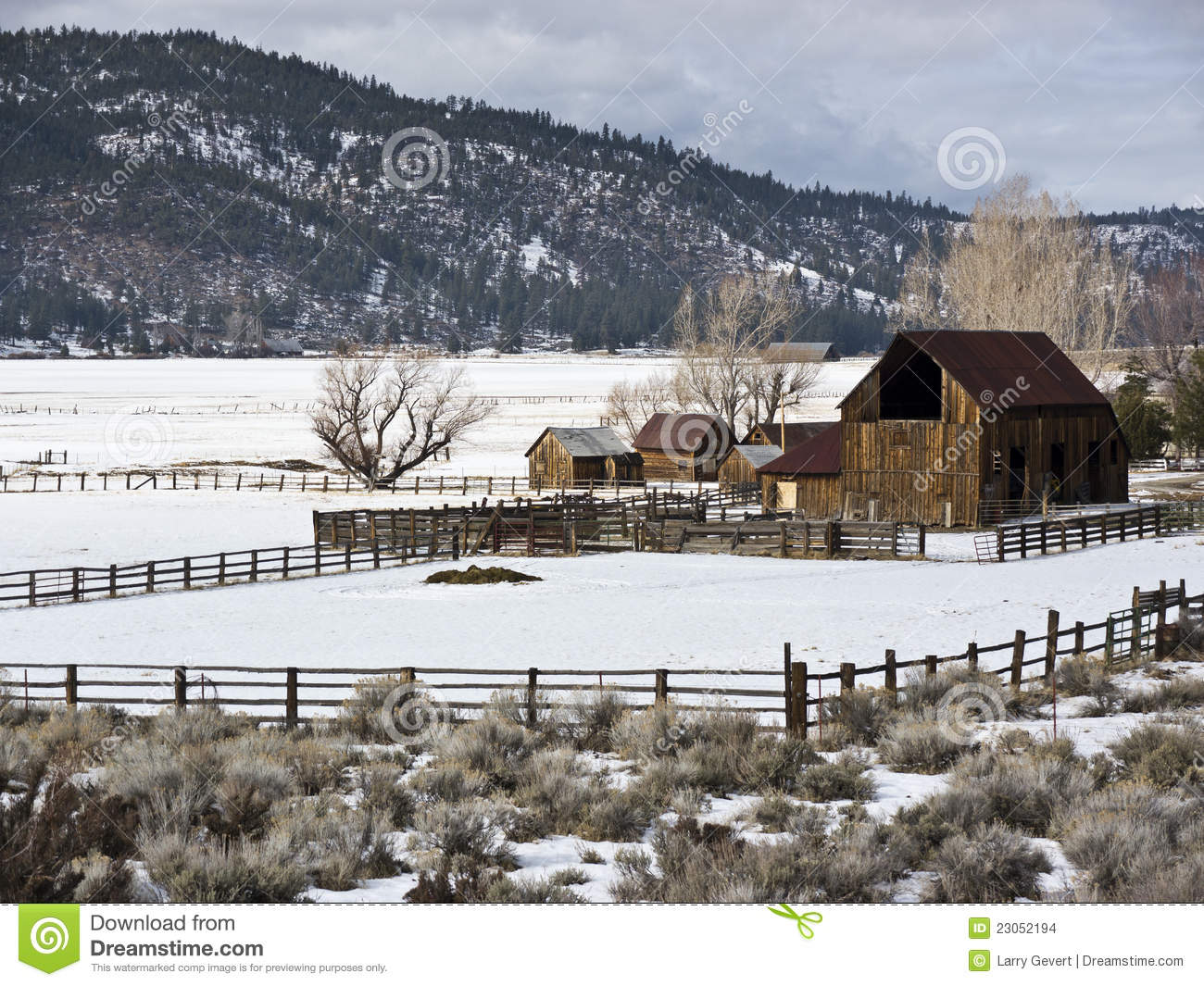 Sierra valley ranch in winter stock images image 23052194 for Sierra valley