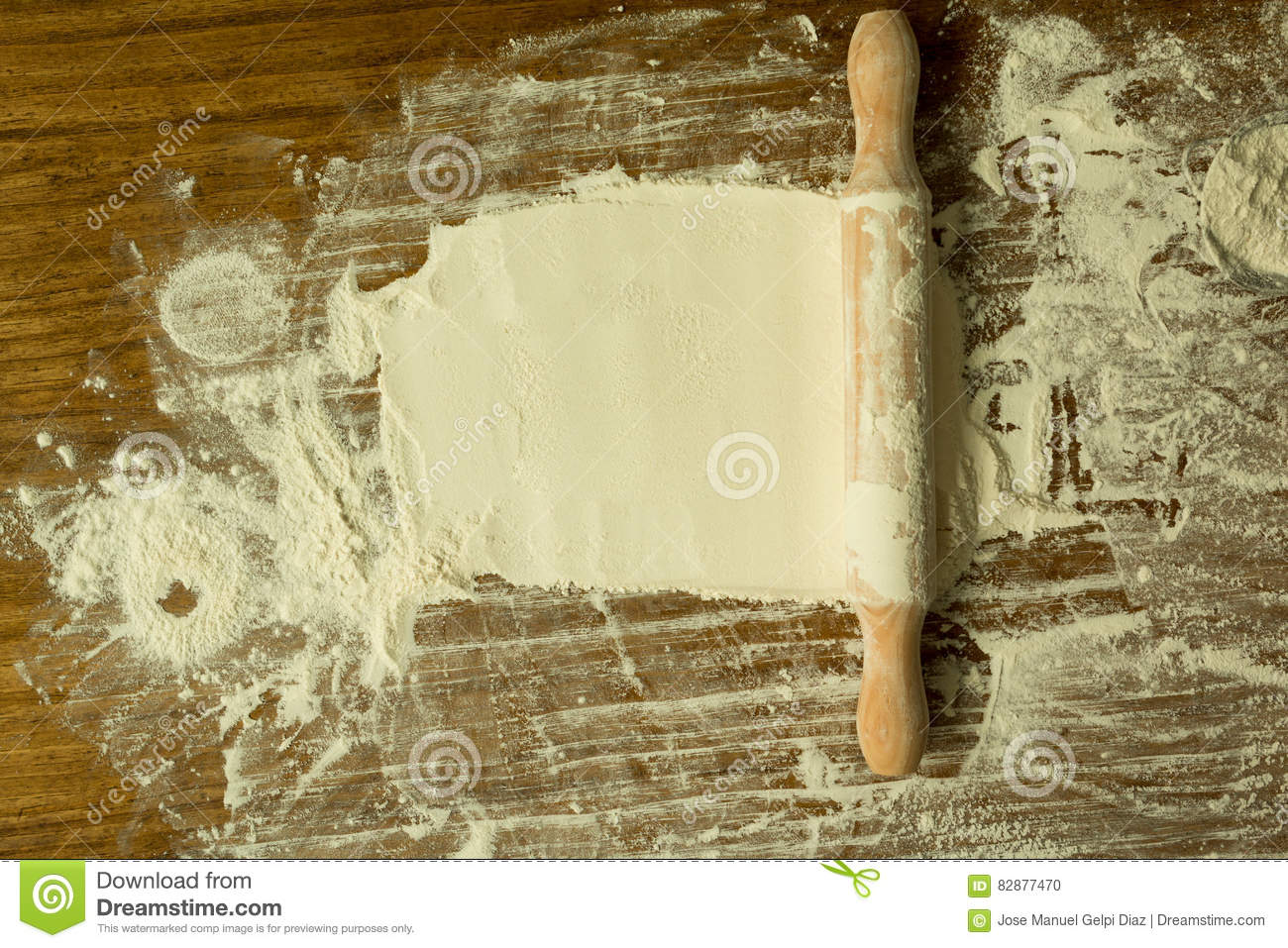 Sifted Flour And Rolling Pin On The Table Stock Photo Image Of