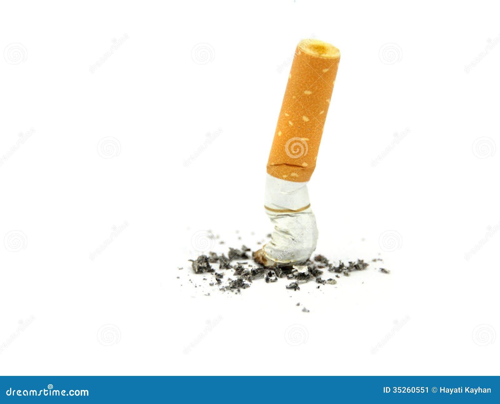 Sigaretuiteinden. Einde het roken concept