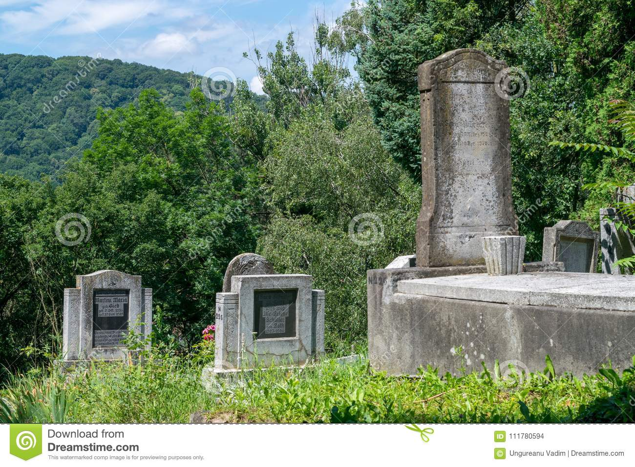 SIGHISOARA, ROMANIA - 1 JULY 2016: Saxon cemetery, located next to the Church on the Hill in Sighisoara, Romania