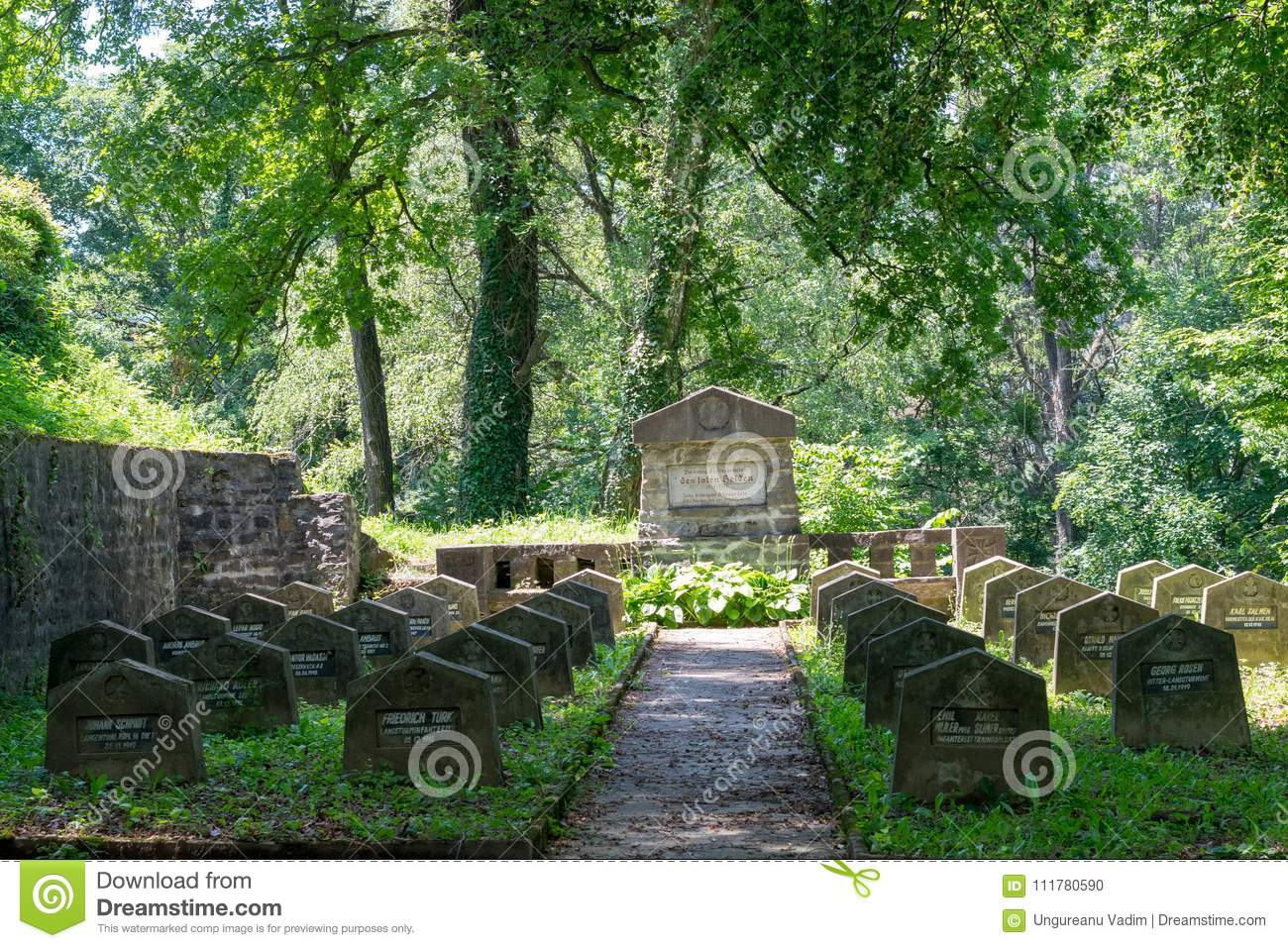 SIGHISOARA, ROMANIA - 1 JULY 2016: WWI Cemetery, near Saxon cemetery, located next to the Church on the Hill in Sighisoara, Romani