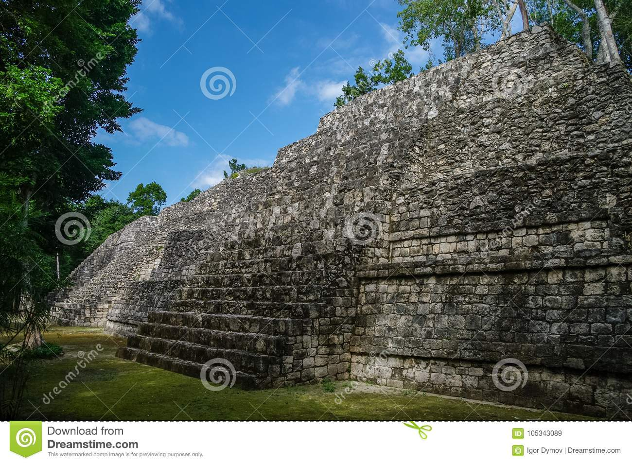 Sight of the Mayan pyramid in ruins in the archaeological Balamku enclosure in the reservation of the biosphere of Calakmul, Camp