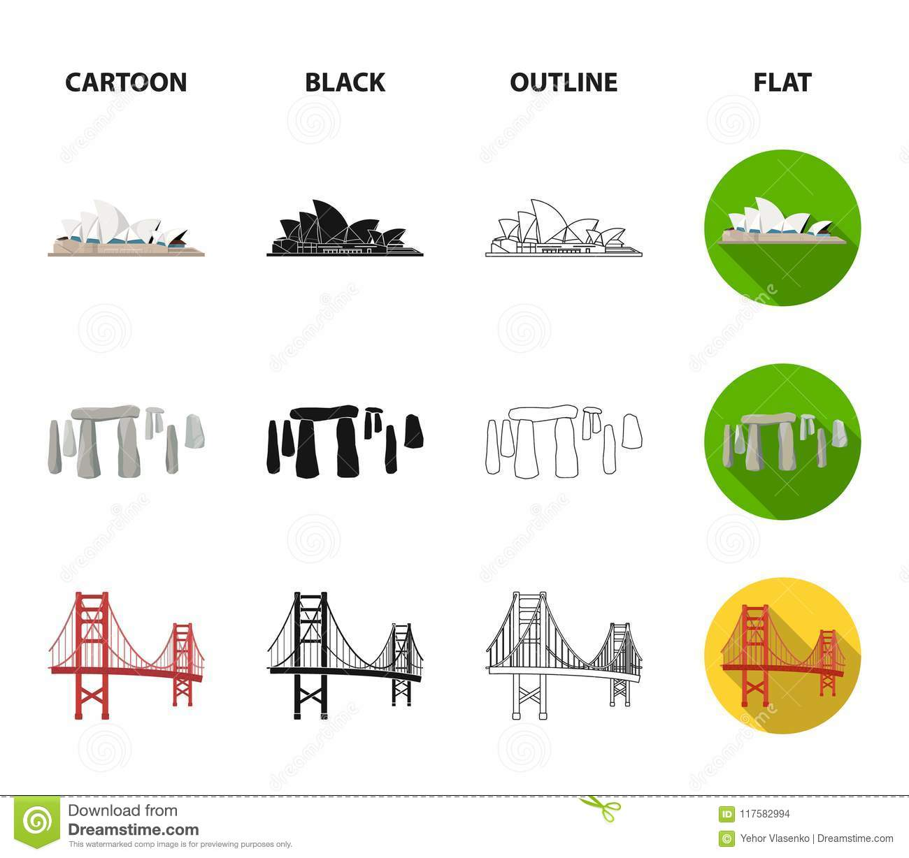 Sights Of Different Countries Cartoonblackoutlineflat Icons In