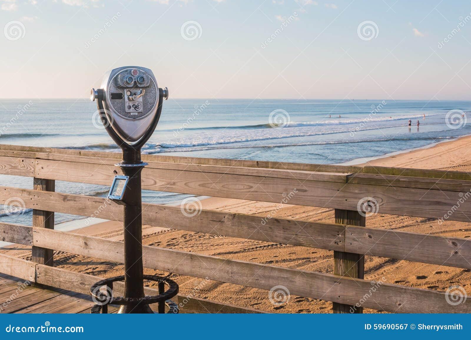 Sightseeing Binoculars On Pier Stock Photo - Image of
