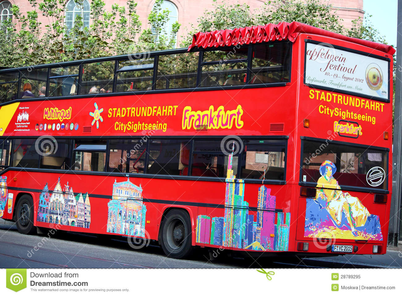 sightseeing bus in frankfurt germany editorial image. Black Bedroom Furniture Sets. Home Design Ideas