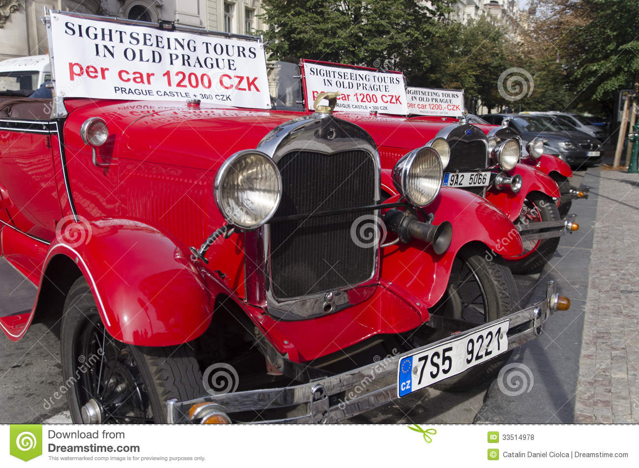 Auto Sale Czech Republic: Sightseeing Cars In Prague Old Town Editorial Stock Photo
