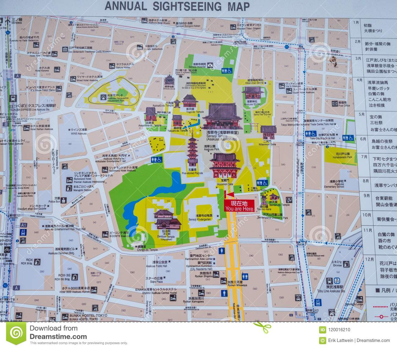 Sightseeing Map Of Asakusa In Tokyo - Annual Events - TOKYO, JAPAN ...