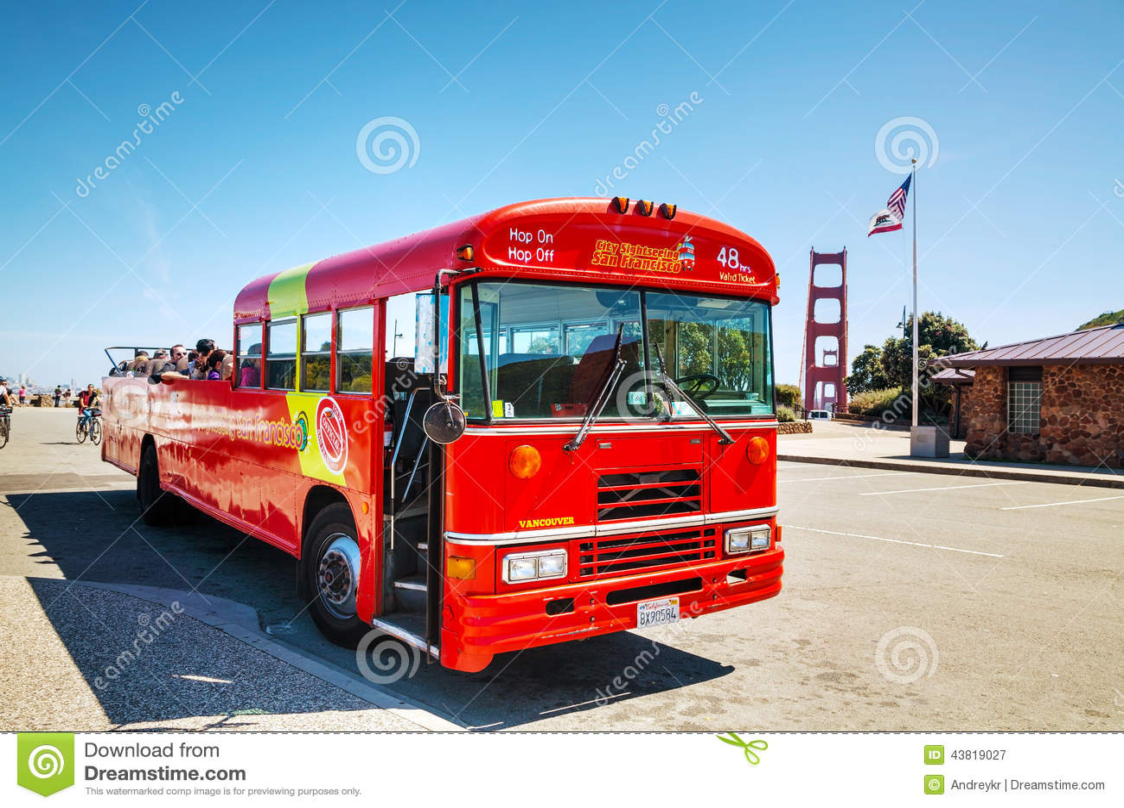 Sightseeing Tour Bus At The Golden Gate Bridge In San