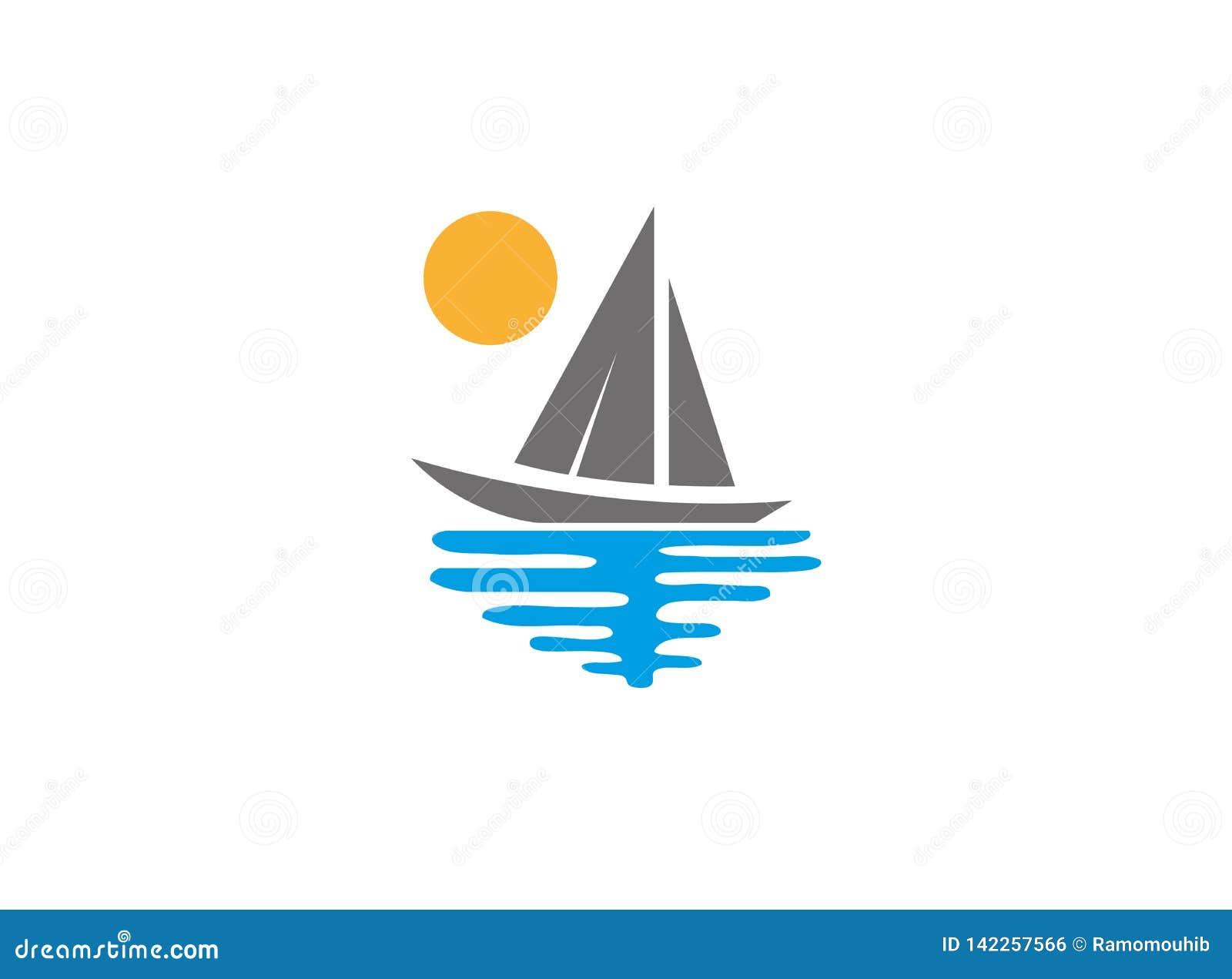 Sigillamento dell yacht con il logo del mare e del sole