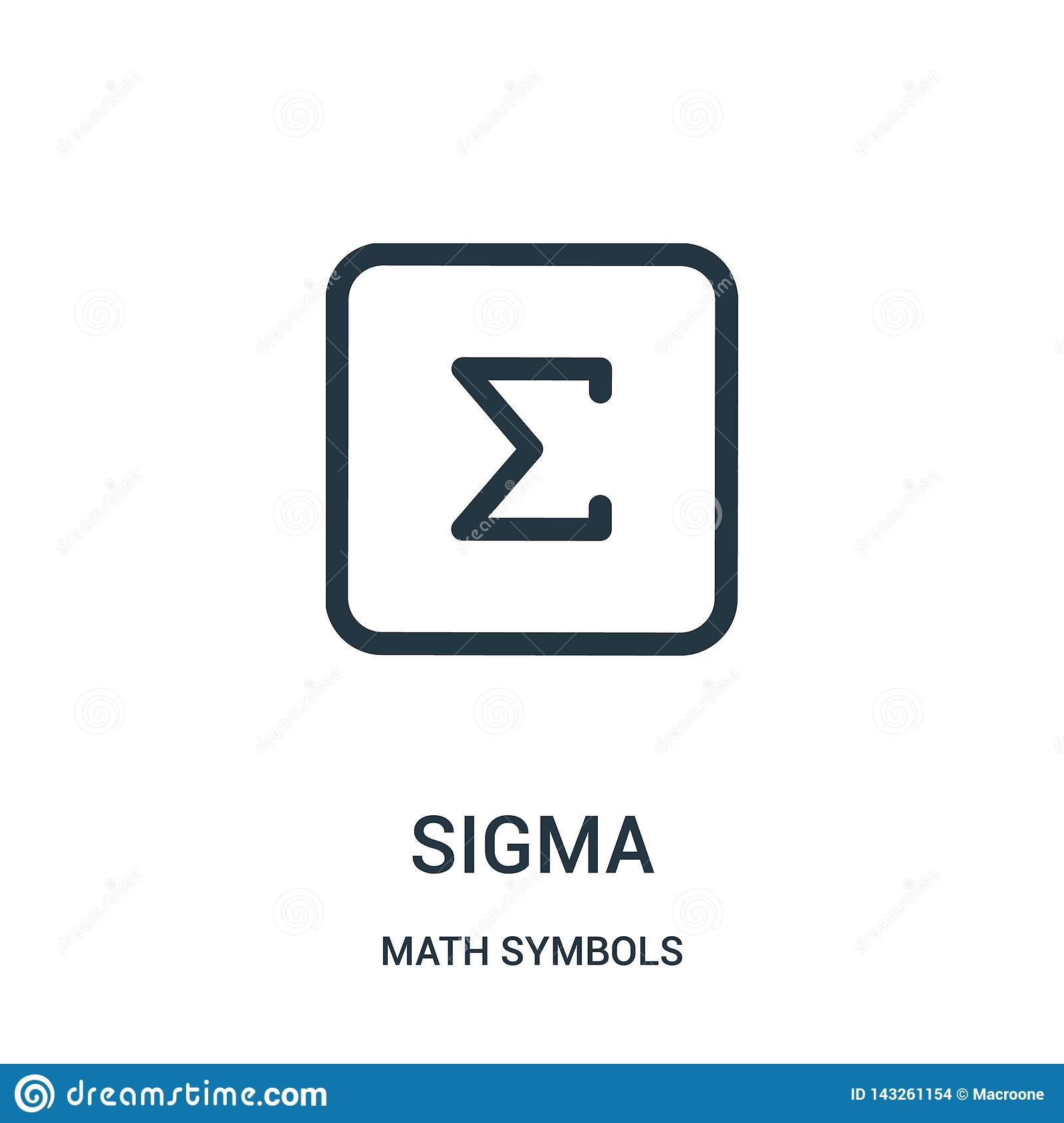 sigma icon vector from math symbols collection. Thin line sigma outline icon vector illustration