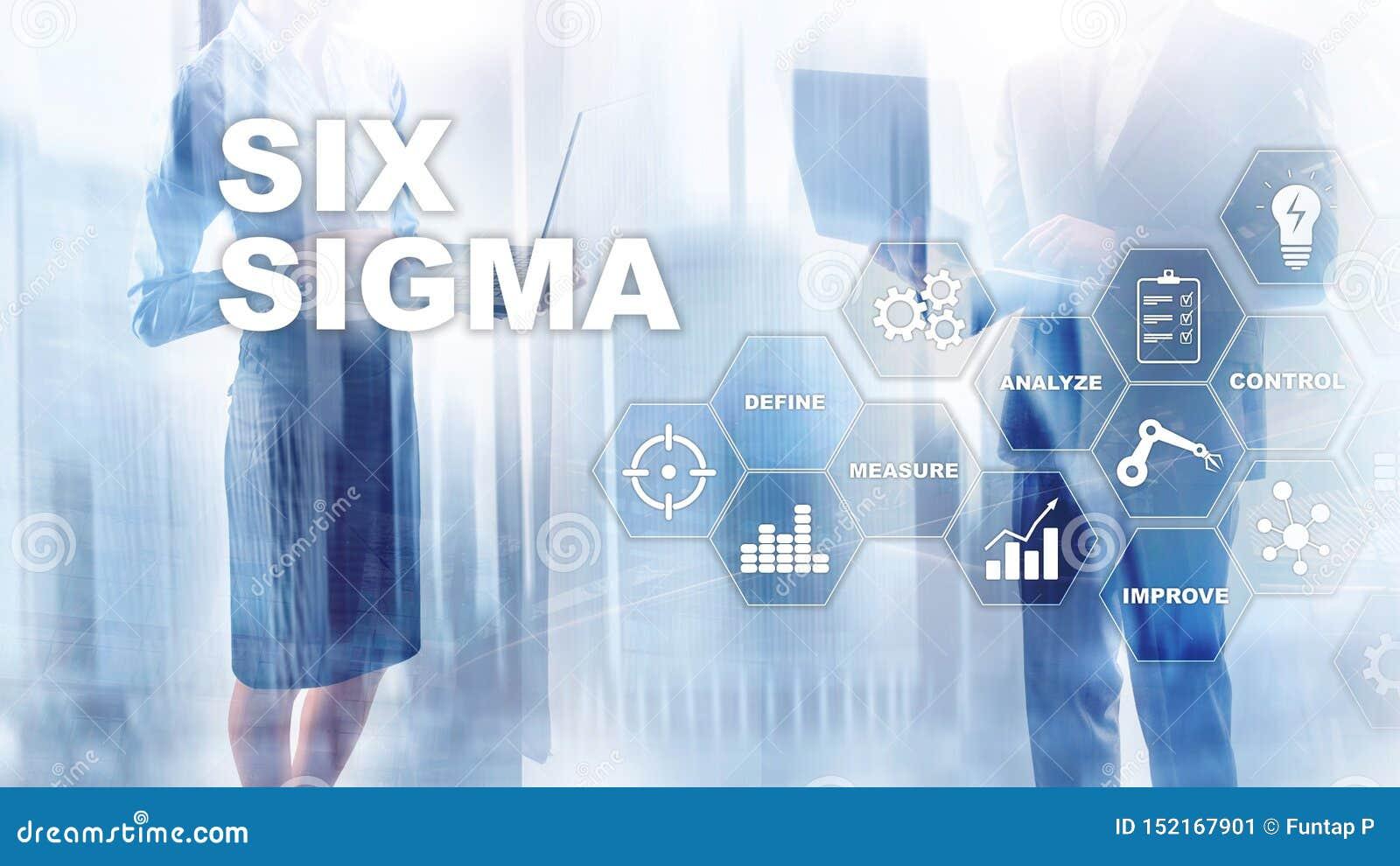 Sigma zes, productie, kwaliteitscontrole en industrieel proces die concept verbeteren Zaken, Internet en tehcnology