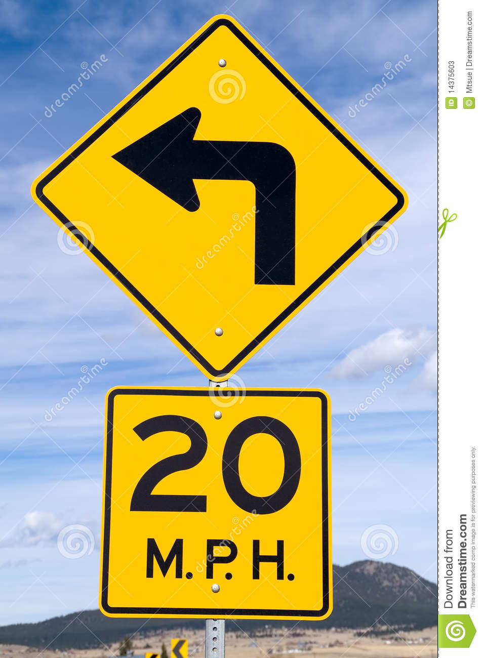 Sign for 20 mph curve stock photos image 14375603 for The sign