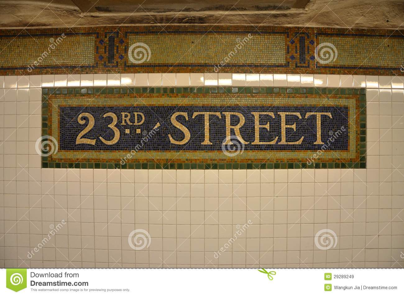 Sign Of 23rd Street Subway In Mosaic Tile Nyc Stock Image