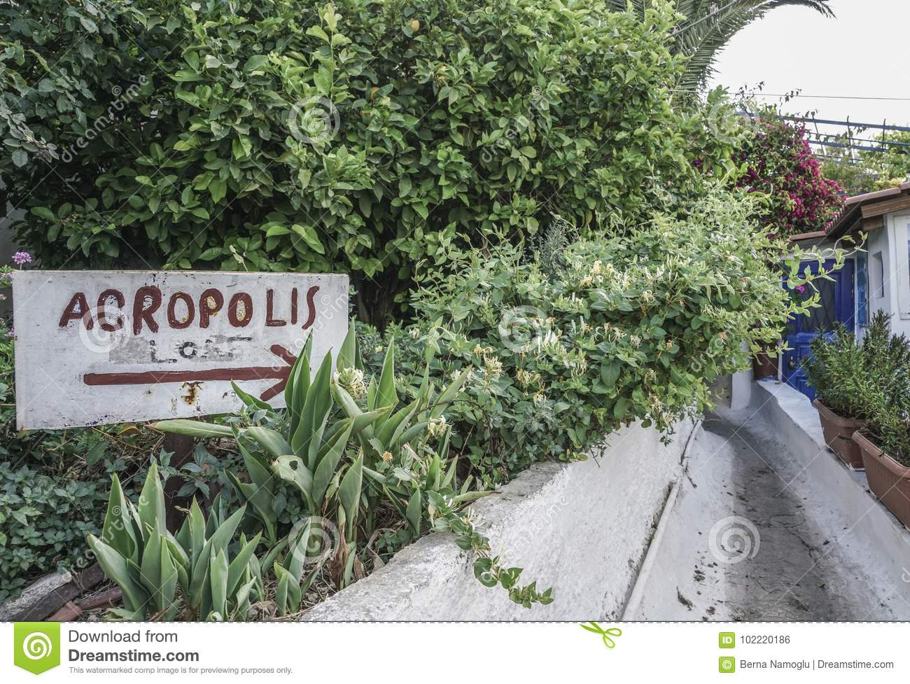 Sign for Acropolis in Athens, Greece
