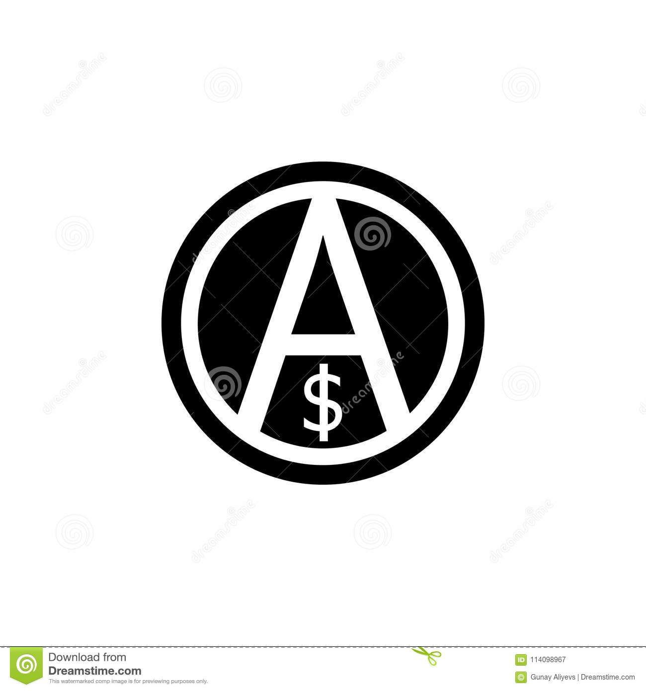 A Sign Of Anarchy And The Dollar Icon Element Of Communism