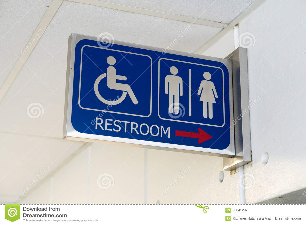 Sign bathrooms for men, women and the disabled