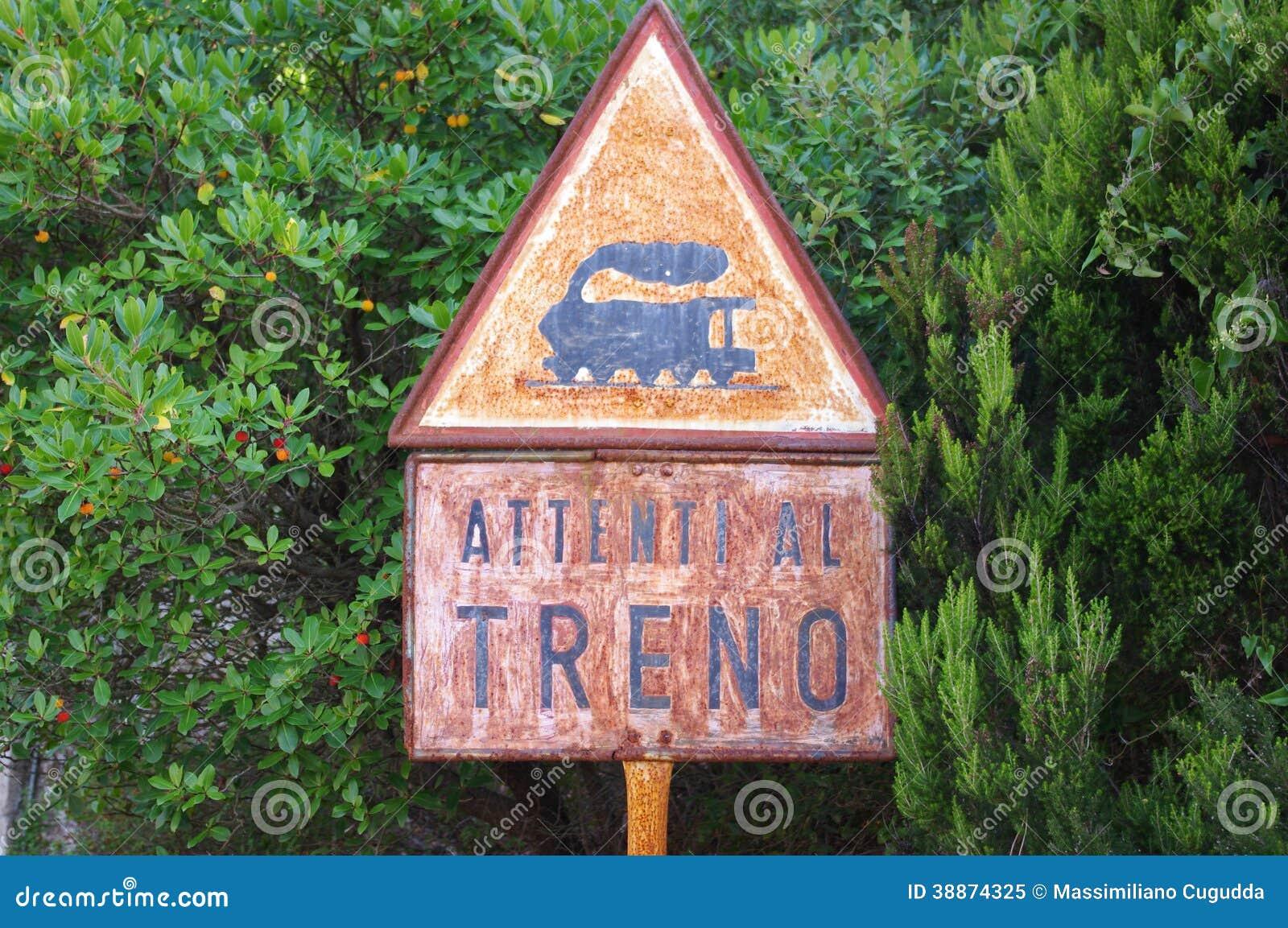 Sign: beware of the train