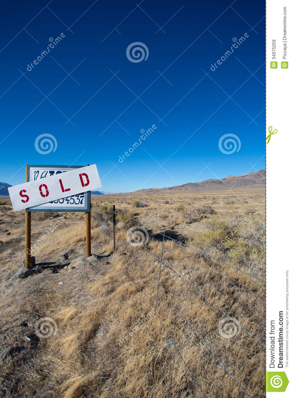 Sign Board Saying A Farm Land Has Been Sold In The Desert