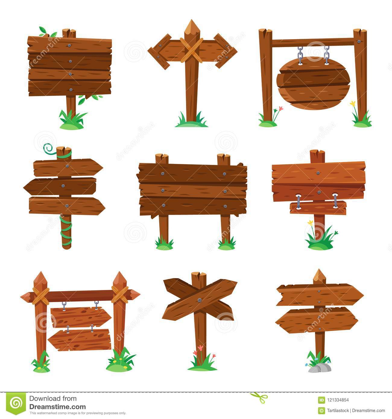 Sign boards in green grass. Wooden plank road signs, wood signboard or isolated signpost board cartoon vector set