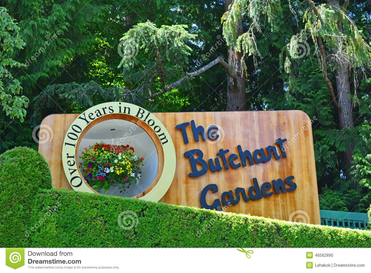 The sign of the butchart gardens