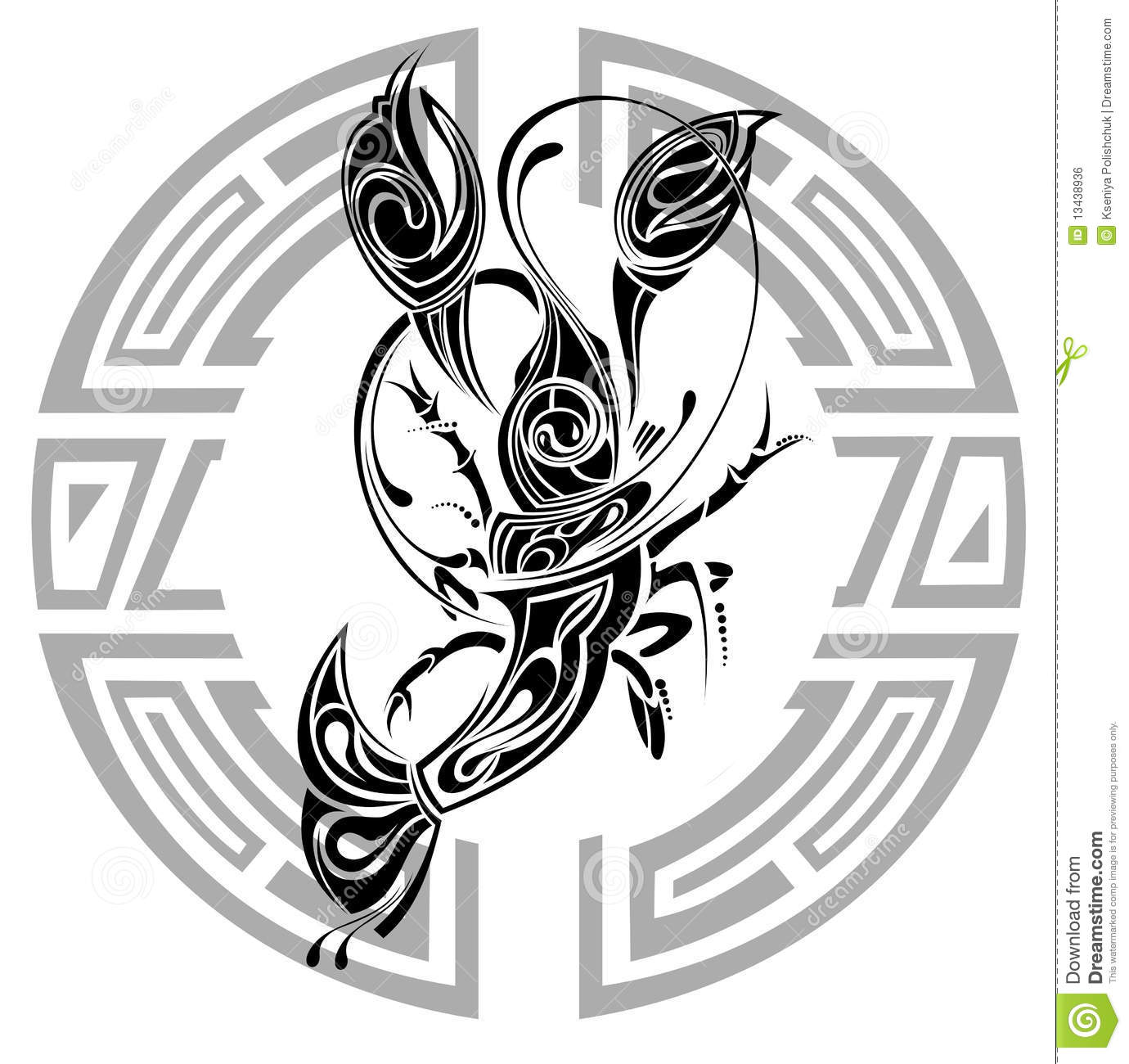Sign Of Cancer. Tattoo Design. Stock Vector