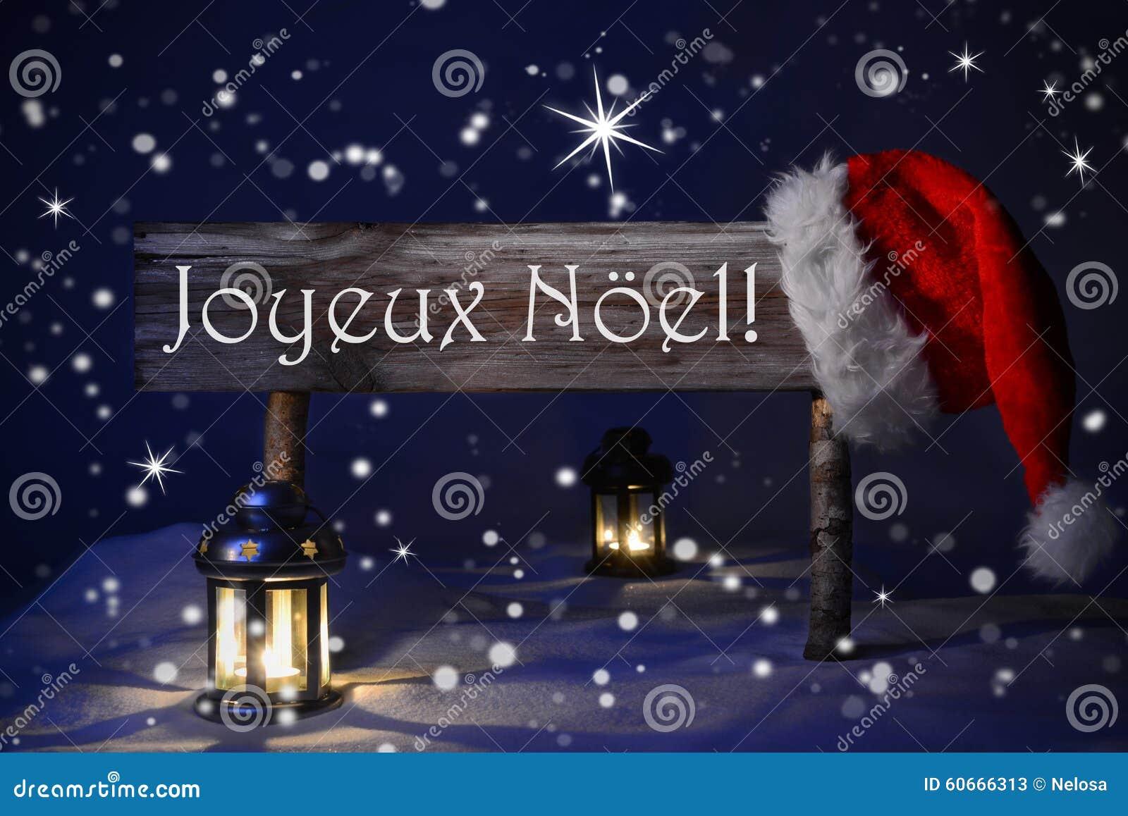 sign candlelight santa hat joyeux noel means merry. Black Bedroom Furniture Sets. Home Design Ideas