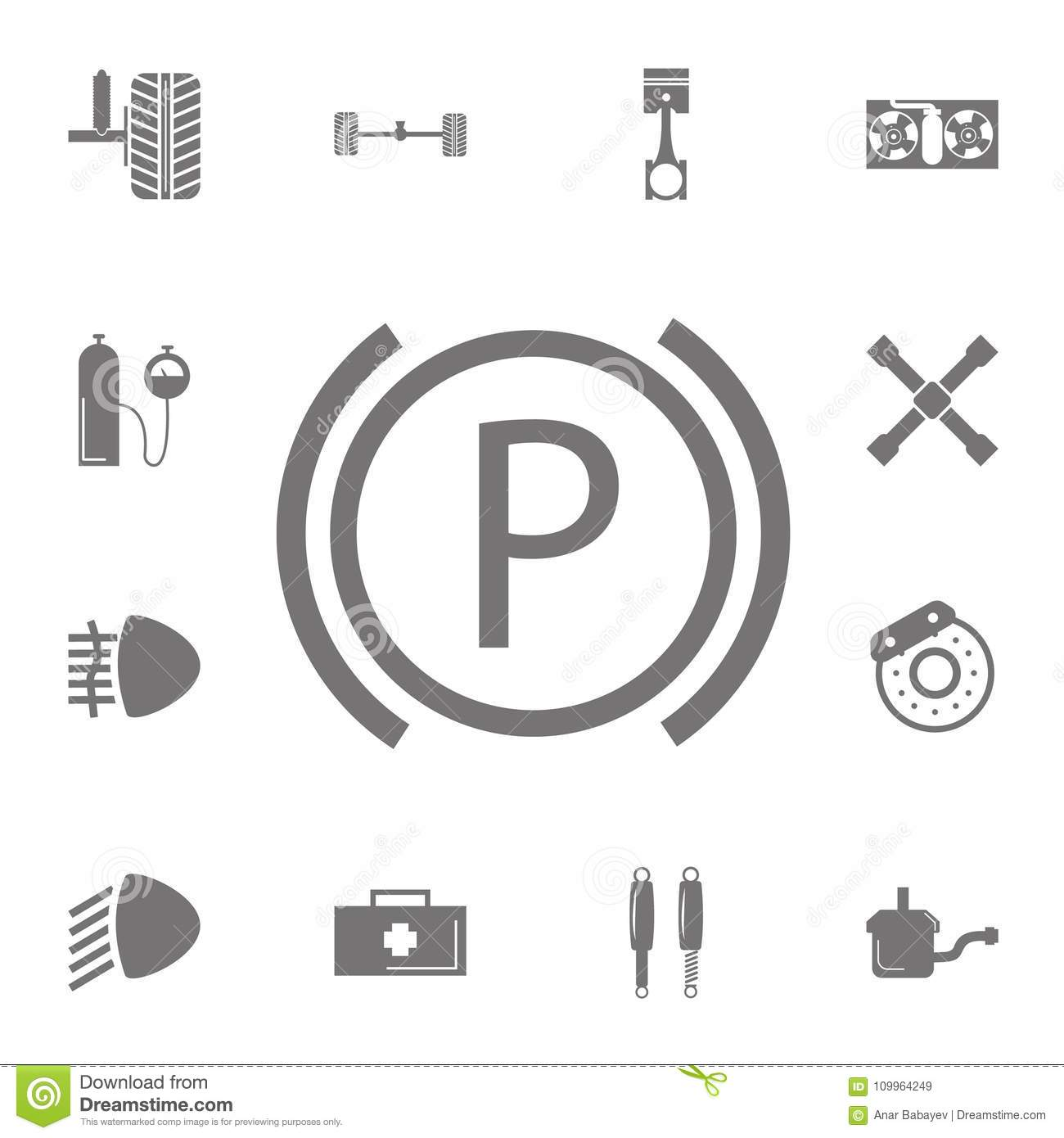 Sign On The Car Dashboard Parking Icon Set Of Repair Icons Dash Board Mobil Download Signs