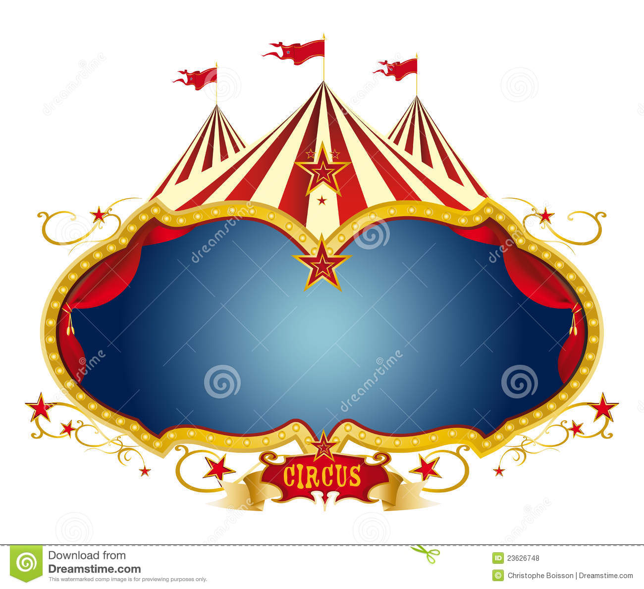 circus frame with a big top and a large blue copy space for your ...