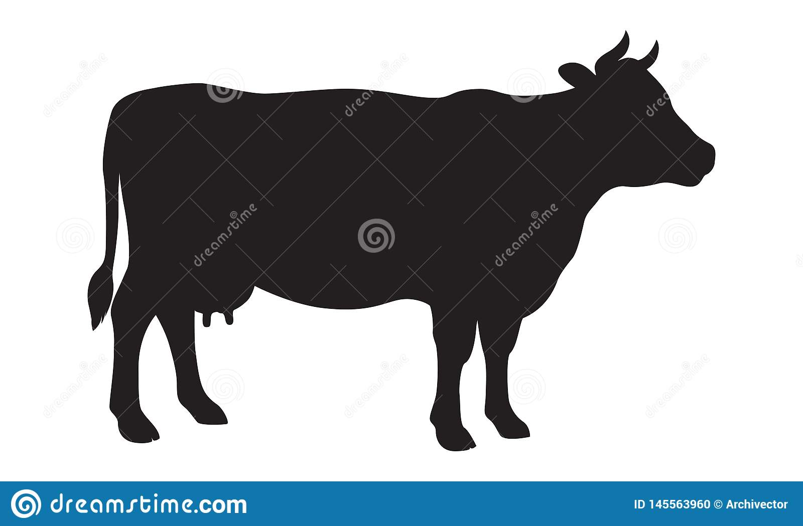 Sign cow black silhouette. Farm animals