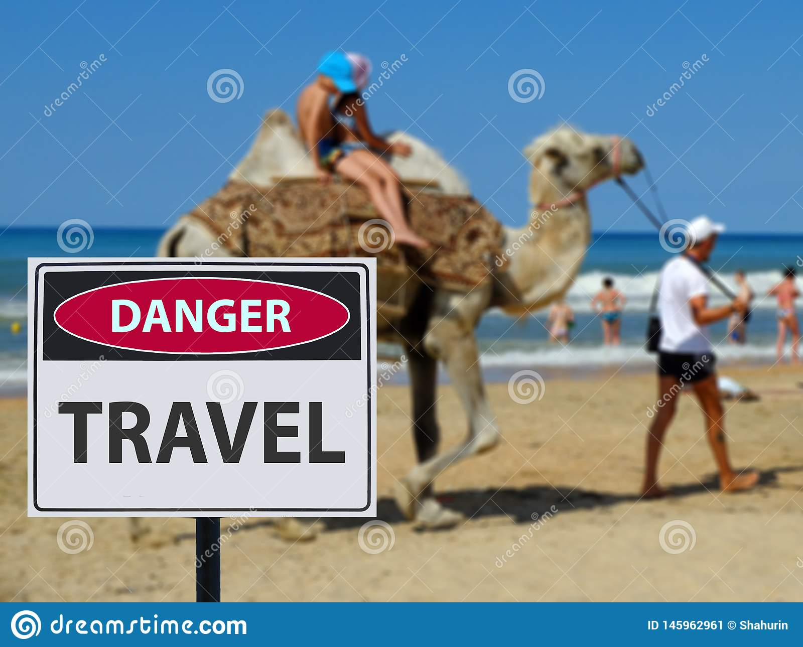 Sign dangerous scamers in travel on the beach and camel riding children.