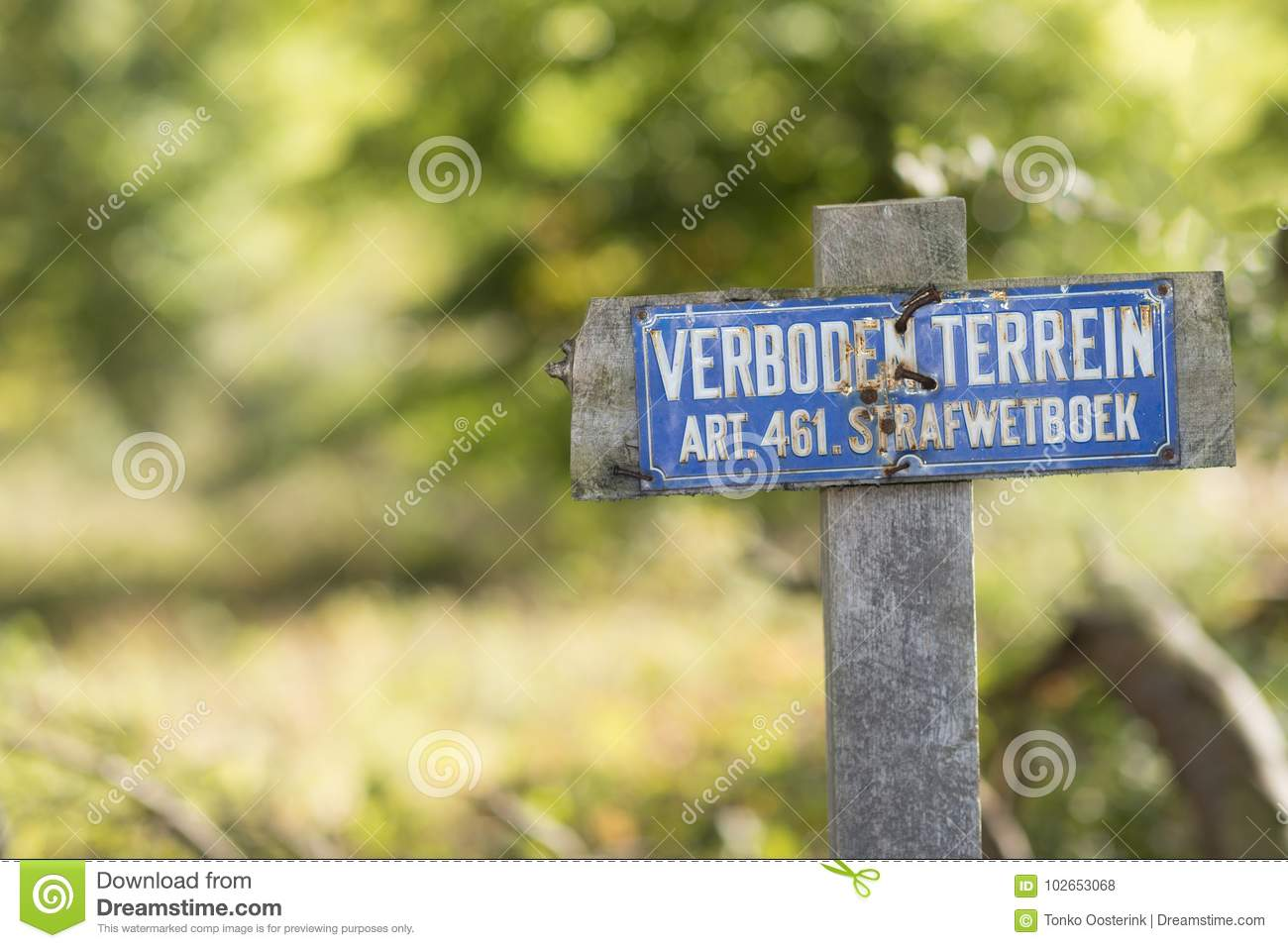 Sign with the dutch text no access