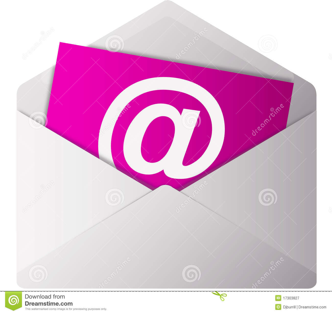 Stationery Concept With Business Cards: At Sign On Email Letter Royalty Free Stock Photography