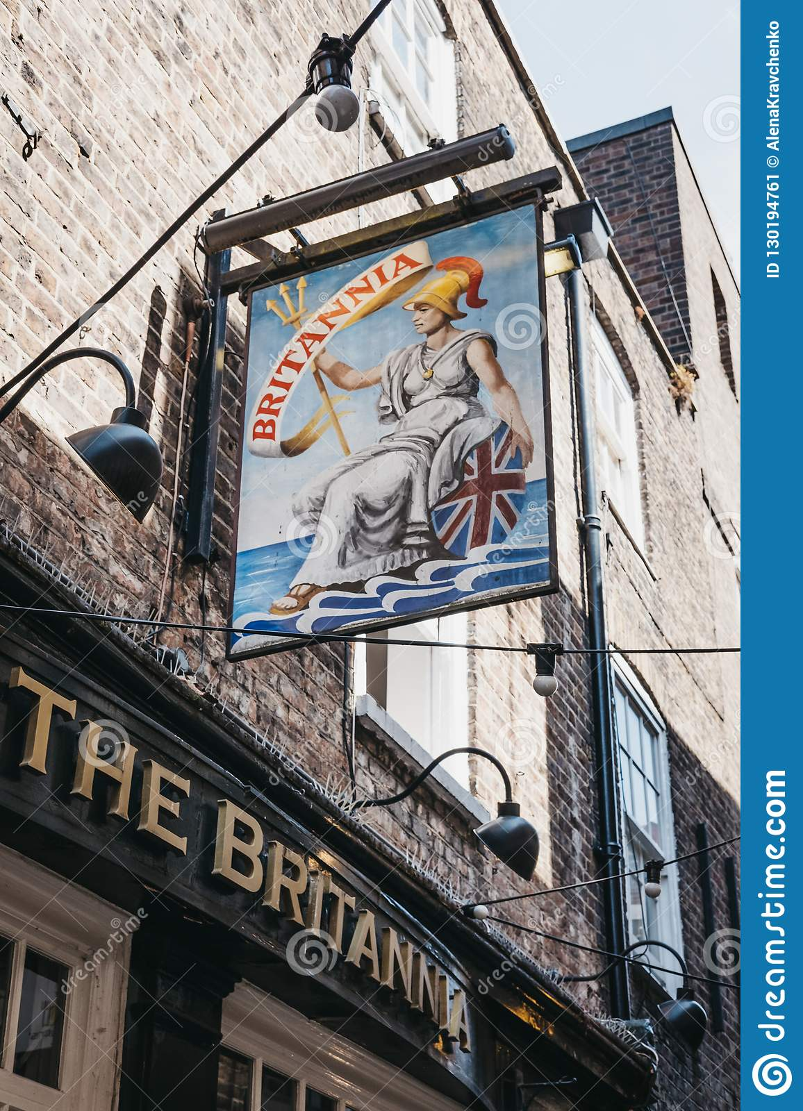 Sign at the entrance of The Brittania pub in Richmond, London, U