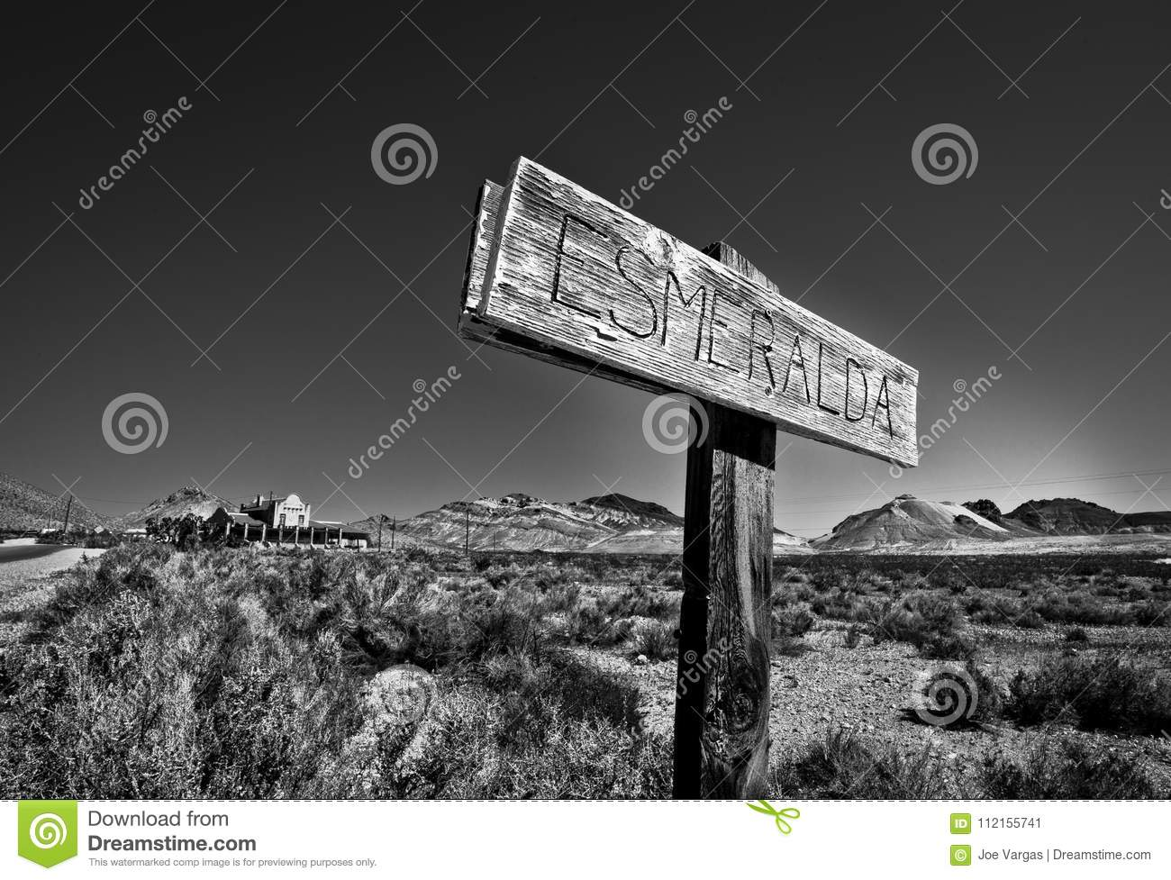 Sign For Esmeralda In The Ghost Town Of Rhyolite Nevada