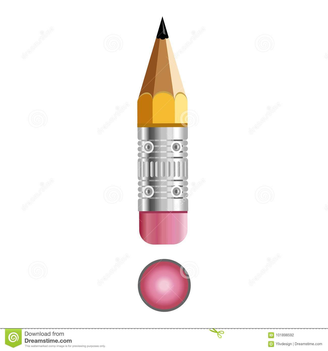 sign exclamation mark pencil icon cartoon style