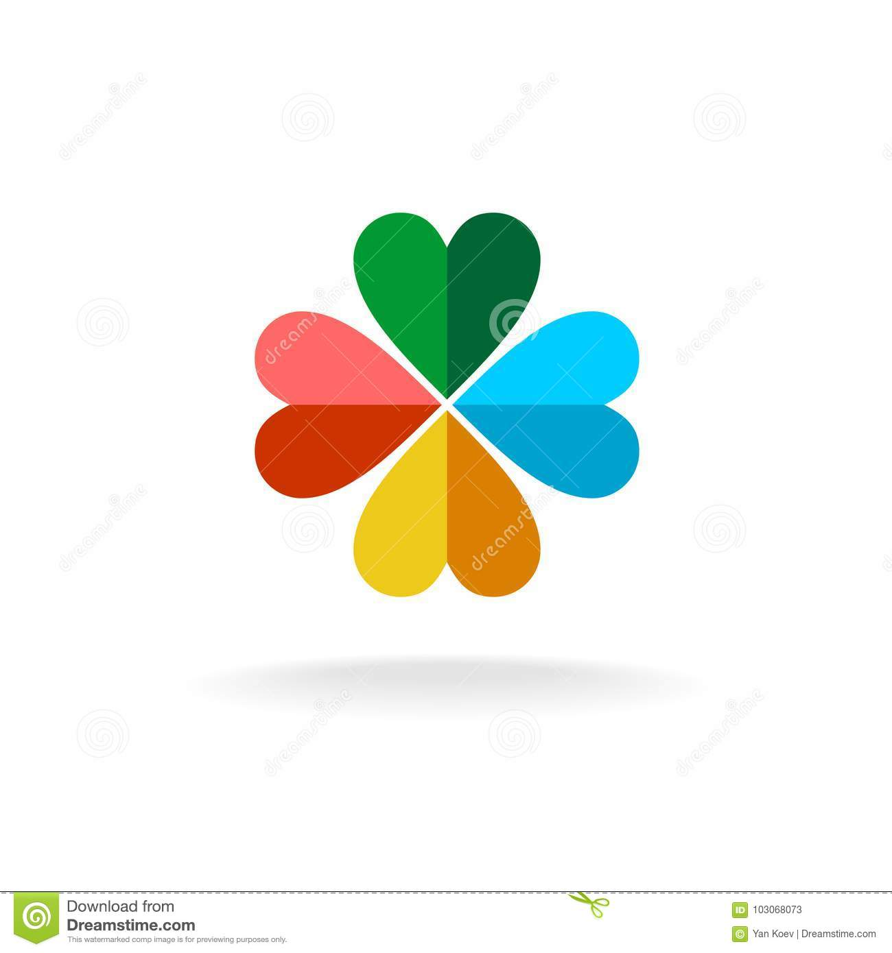 Four leaves colorful clover logo
