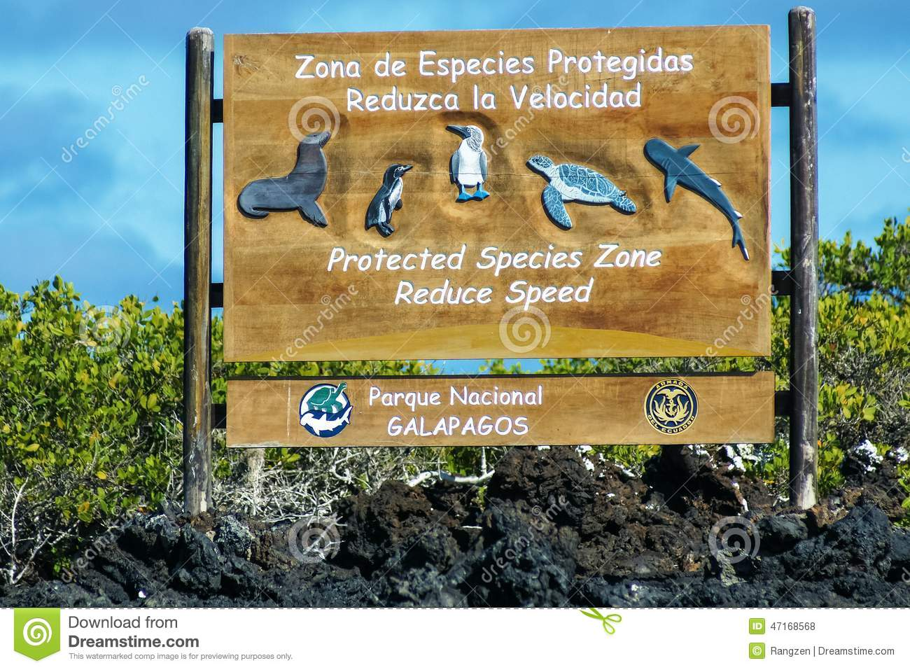 Sign In The Galapagos National Park Ecuador To Protect Animals