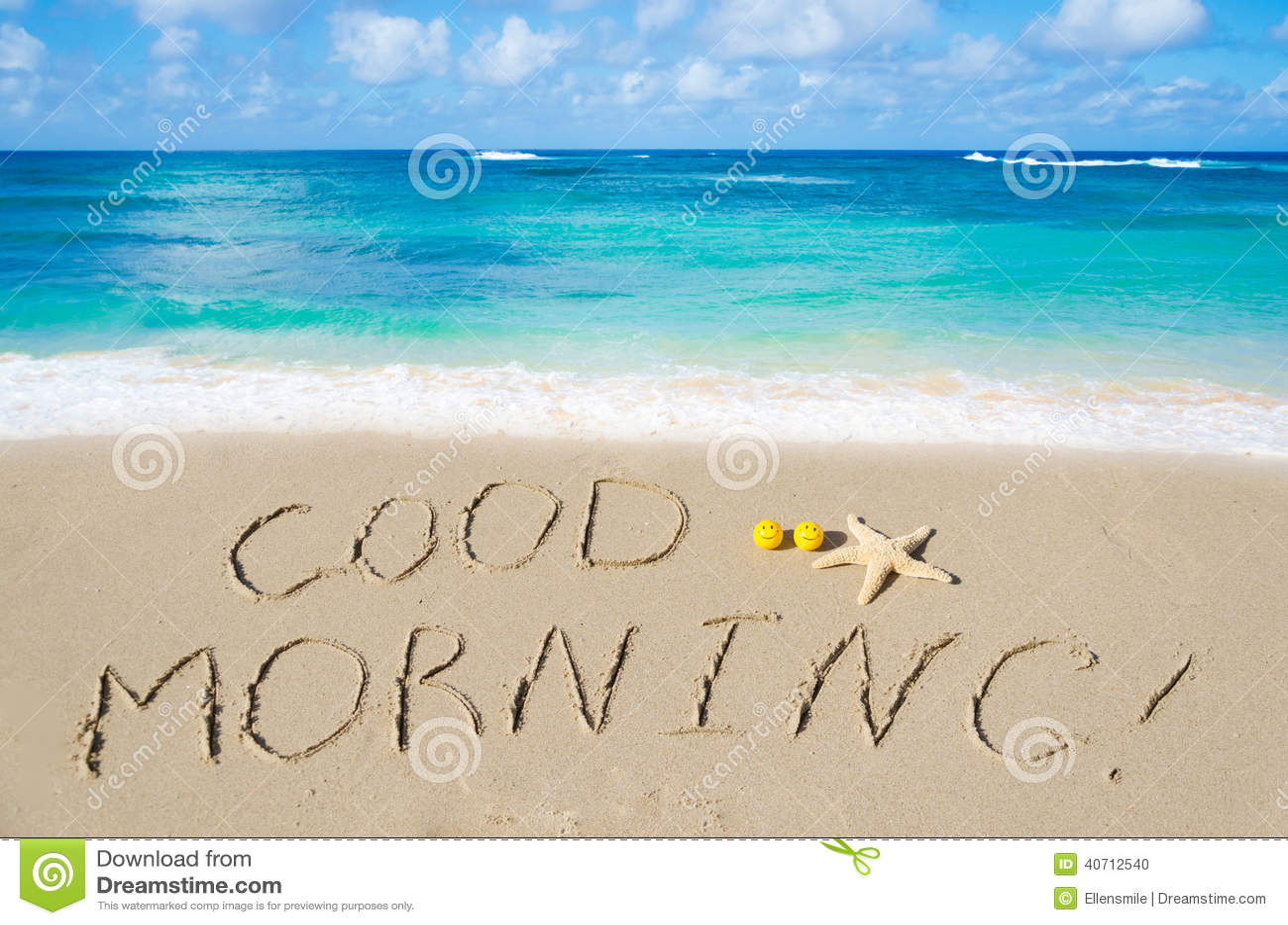 Sign Good morning on the sandy beach.