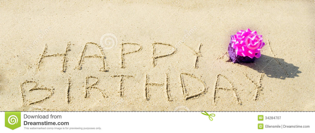 Sign Happy Birthday With Gift On The Sandy Beach