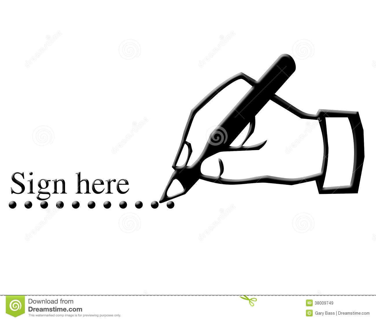 Sign here and hand writing illustration on white background.