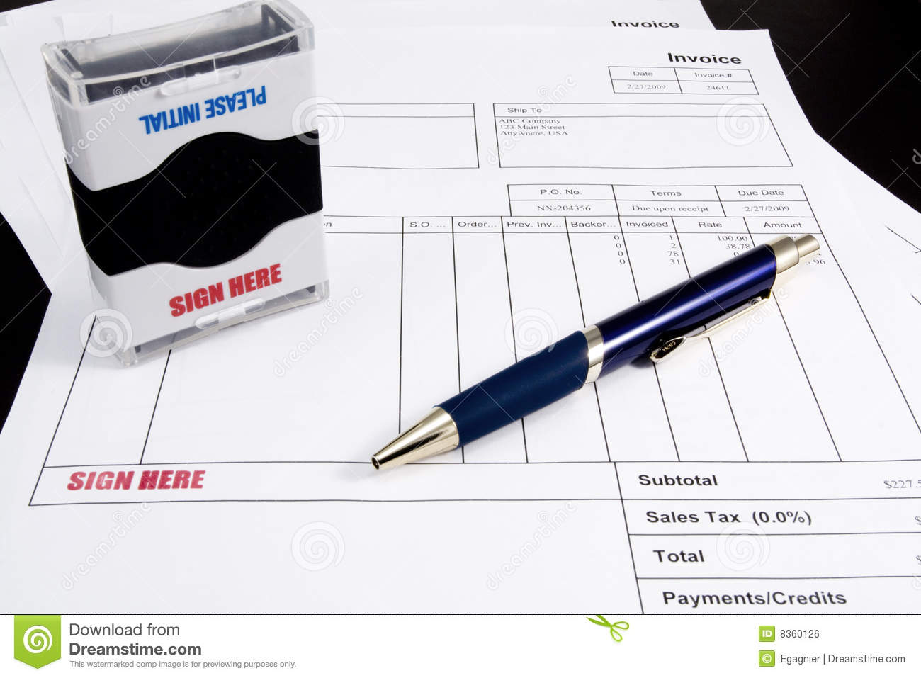 Sign Here Stamp On Invoice Stock Photo Image Of Business - Invoice stamp