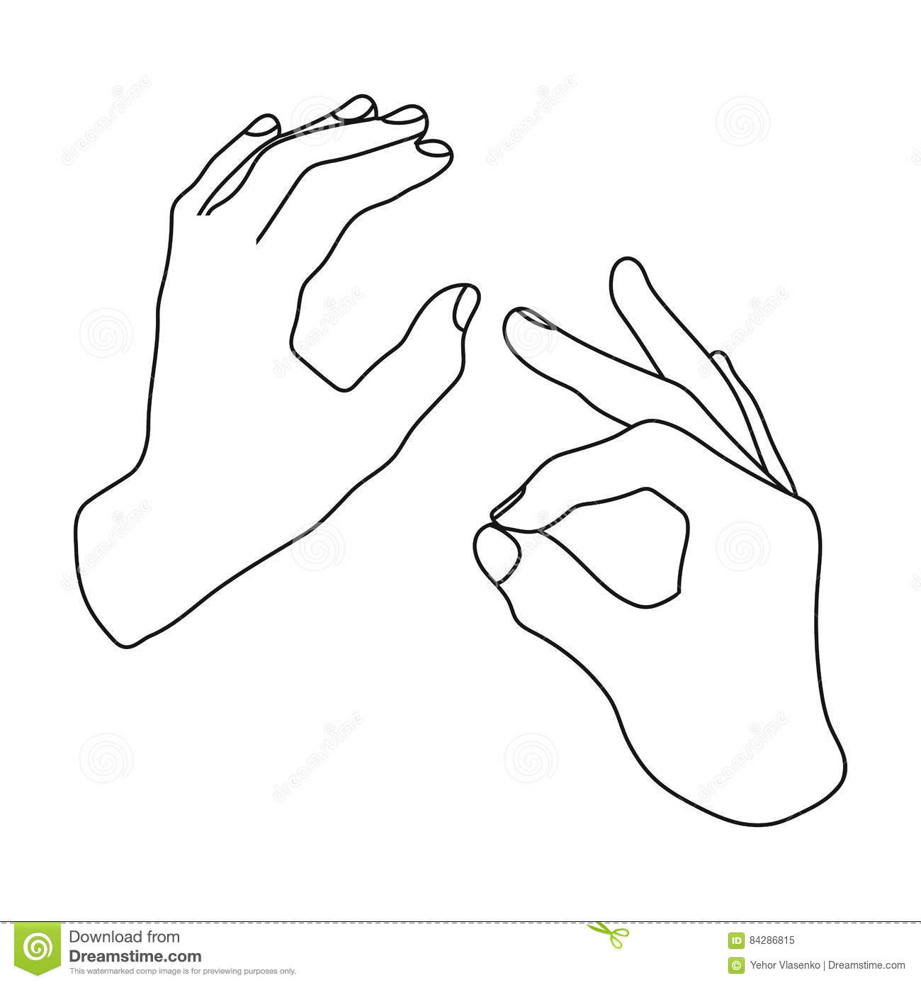Sign Language Icon In Outline Style Isolated On White Background