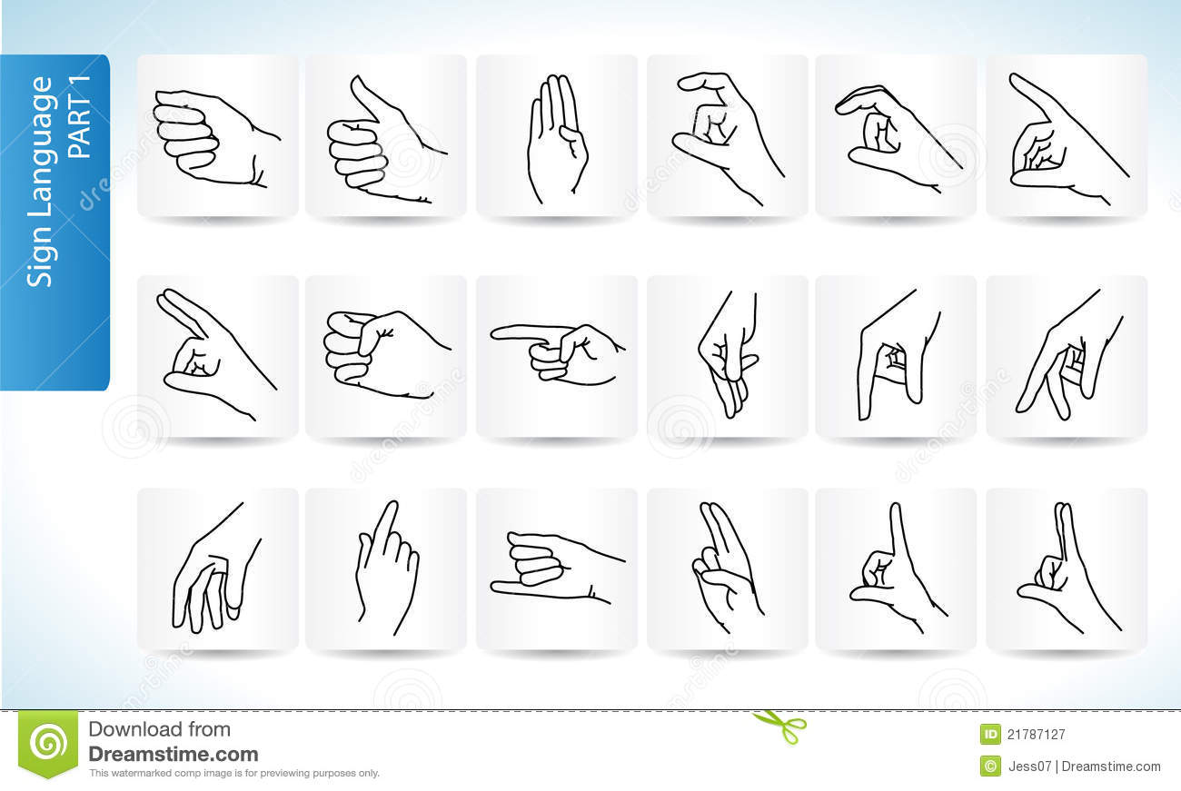Sign Language Symbols Part 1 Stock Illustration Illustration Of